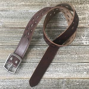 Lucky Brand Brown Leather Belt With Cutouts Size S